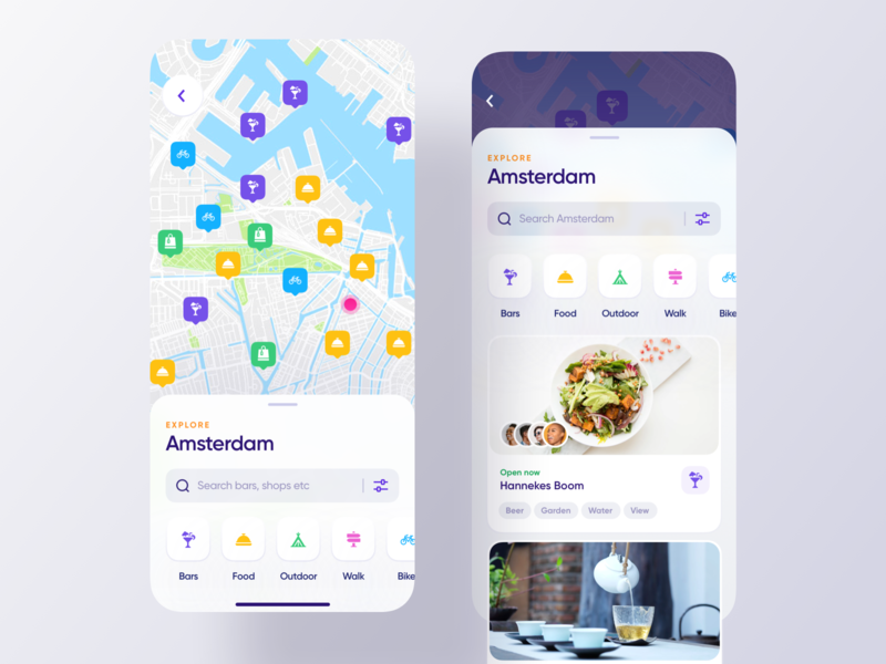 City Guides: Places search filters map view appdesign ios guides travel grid design ux clean ui app cards product design interface