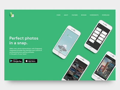 Snapseed App Landing Page Concept