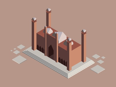 Badshahi Mosque isometric badshahi mosque pakistan lahore islam mosque muslim
