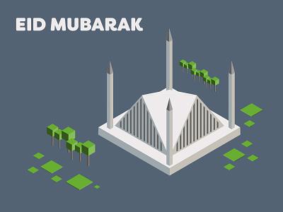 Eid Mubarak illustration isometric pakistan islamabad islam masjid faisal mosque mosque ramzan muslim eid