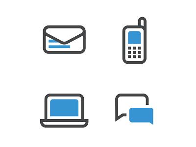 Dual Tone Icons sms laptop phone mobile message bold minimal gray white blue illustrator icons
