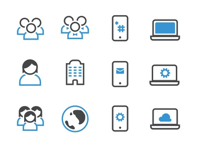 Dual Tone Icons: Part 2 icons illustrator blue white gray minimal bold message mobile phone laptop sms
