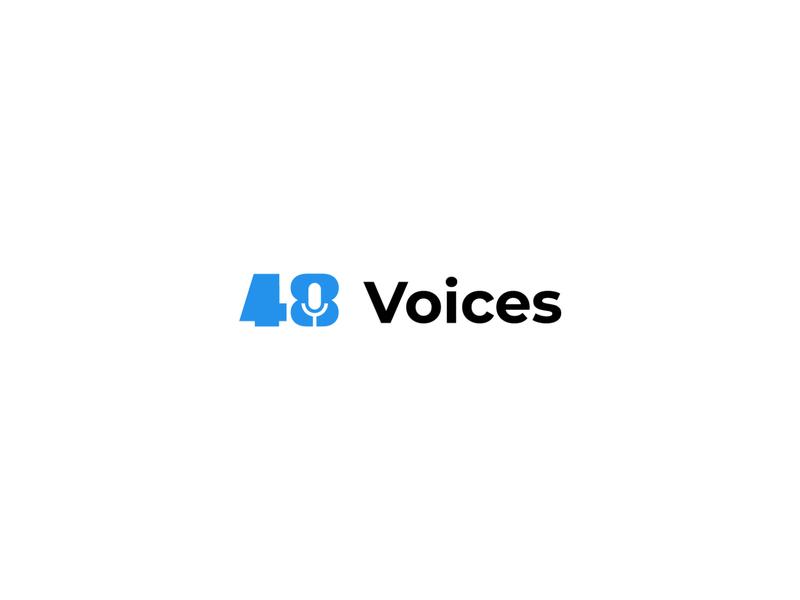 48 Voices - Podcast Logo Design startup logo designer for hire brand identity logo designer negative space conceptual podcast logo mike podcast simple vector icon design branding logo design concept symbol logo flat minimal