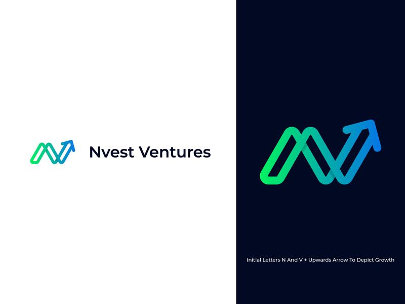 Nvest Ventures - Logo Identity investment venture capital funding startup business lettermark monogram brand identity logo designer growth finance vector icon design branding logo design symbol logo flat minimal