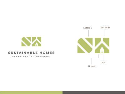 Sustainable Homes - Logo And Brand Identity Design lettermark monogram startup logo designer eco friendly architecture real estate home sustainable simple vector icon design branding logo design concept symbol logo flat minimal
