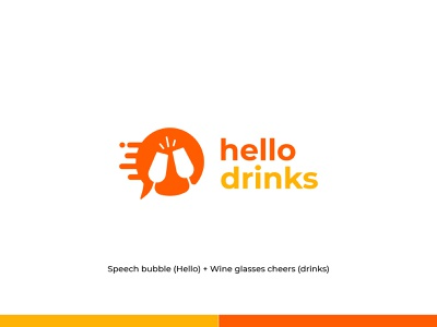 Hello Drinks - Logo Identity online shop brand logo identity logo and branding brand identity liquor alcohol beer branding wine cheers drinks icon design branding logo design concept symbol flat logo minimal