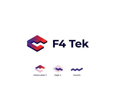 F4Tek - Logo Design tech company startup canada isometric brand identity logotype lettermark negative space tech logo it company technology digit 4 letter f logo designer concept monogram branding logo design logo minimal