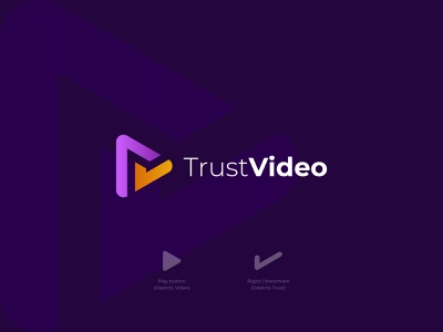 TrustVideo - Logo Identity usa business startup graphic design play logo brand identity logo and branding logo designer trust video streaming negative space ui design concept branding logo design symbol flat logo minimal