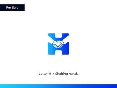 Letter H + Shaking Hands lettermark gradient h logo letter h hiring hands negative space business startup brand identity logo and branding sale available for sale logo for sale concept branding logo design flat logo minimal