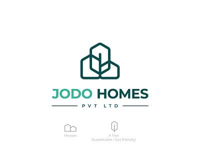 Jodo Homes - Logo Design business home startup available for hire real estate eco friendly sustainable solar green energy logo designer illustration ui design concept branding logo design symbol flat logo minimal