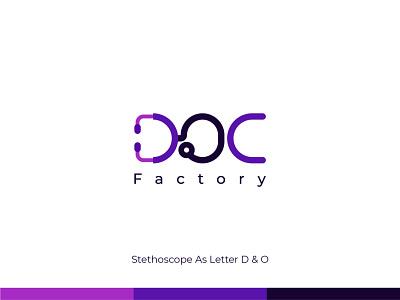 DOC Factory - Logo Design startup monogram logo and branding brand identity behance dribbble logo designer wordmark stethoscope conceptual medical ui design concept branding logo design symbol flat logo minimal