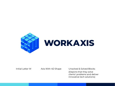 WorkAxis - Logo Design brand identity logo designer graphic design application web tech solutions technology puzzle 3d 4d axis ui design concept branding logo design symbol flat logo minimal