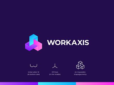 WorkAxis - Logo Concept axis icon impossible shape hexagon graphic design gradient brand identity logo designer technology 4d 3d ui design concept branding logo design symbol flat logo minimal
