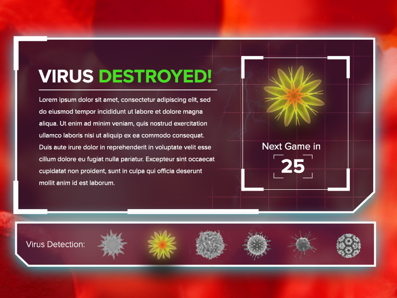 Destroyed Virus Panel ui tradeshow game touch game touchscreen game screen pop up game ui game virus hunter
