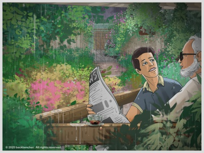 Conversation in rain ! bangladesh wacom illustration flower newspaper grandson grandfather balcony rain