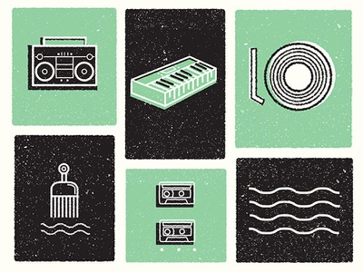 Music Peace & Hair Grease boombox record tapes illustration music icons