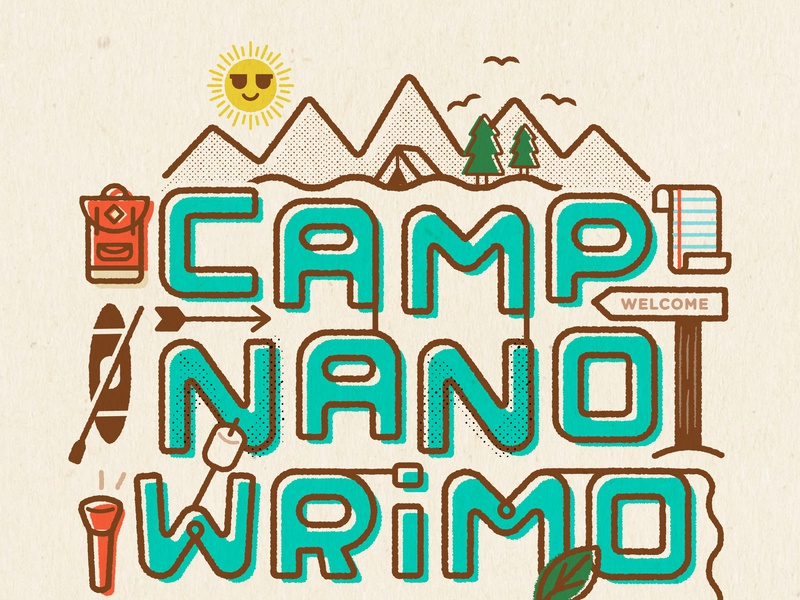 Camp Poster custom font typography writing camp graphic  design poster illustration