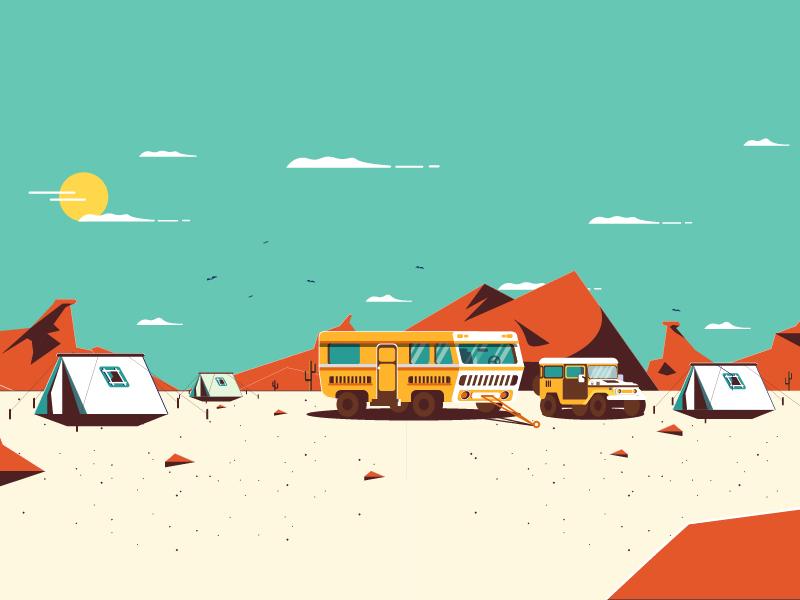 DESERT desert motion direction art illustration