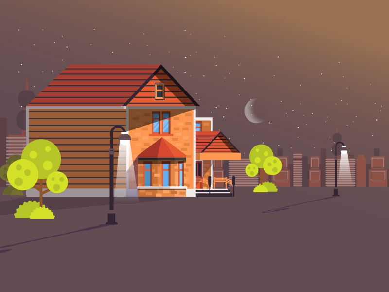 Home night home direction art motion illustration