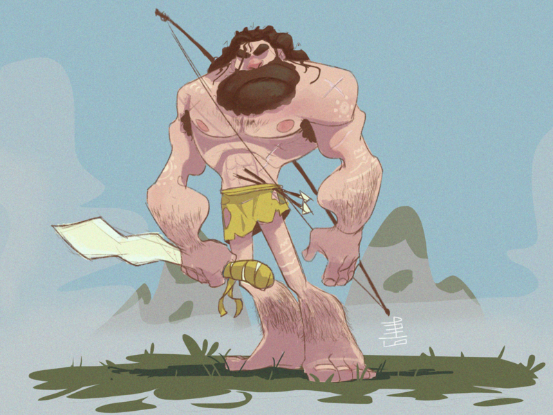 CAVE MAN digital illustration art concept design character