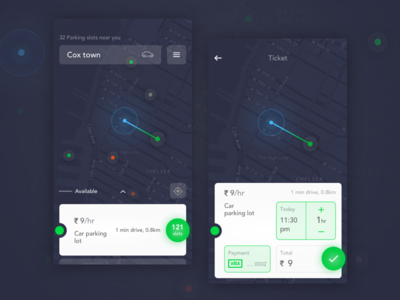 Parking Application Concept: A complete problem solver ticket phone ux ui park mobile map driving interface app parking