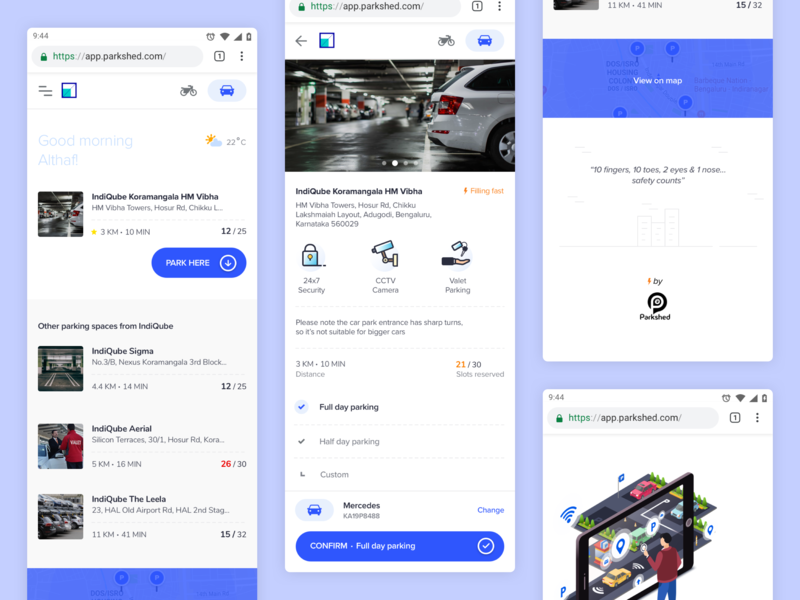 Parkshed- Parking Application for B2B enterprise driving interface indiqube design india app design mobile invisionstudio invision ui parking lot parkshed enterprise software b2b ui  ux progressive web app mobile ui parking app parking