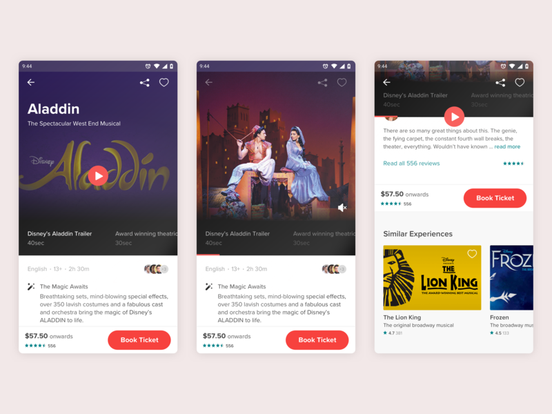 Event Booking Detail Page video player ticket booking app theatre ui sketch invision ui  ux interface interaction disney ticket booking ticket mobile app ui mobile app mobile detail page app design design app aladdin