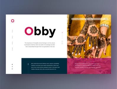 Obby landing page minimalist culture uxtrends ux landingpage webdesign uidesigner uidesign ui graphicdesigner graphicdesign flatdesigns