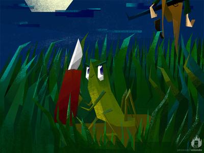 #3randomwords illustration. Grasshopper, Pocket Knife, Hunt illustration rifle evil moon hunter hunting knife grasshopper