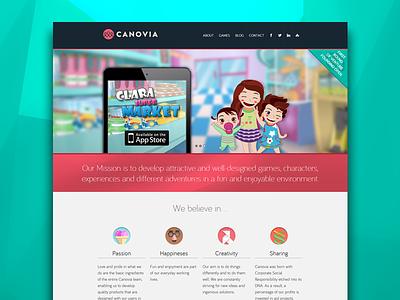 Canovia home web app ios css3 design html5 responsive games kids