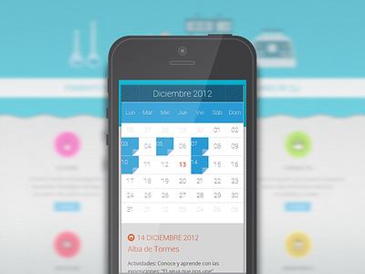 Mobile view, calendar web responsive css3 html5 web design mobile water investigation browser calendar