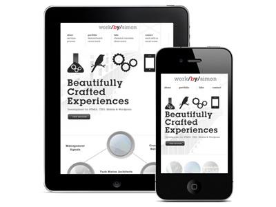 iPad & Mobile views of workbysimon responsive design mobile design ipad design mobile website