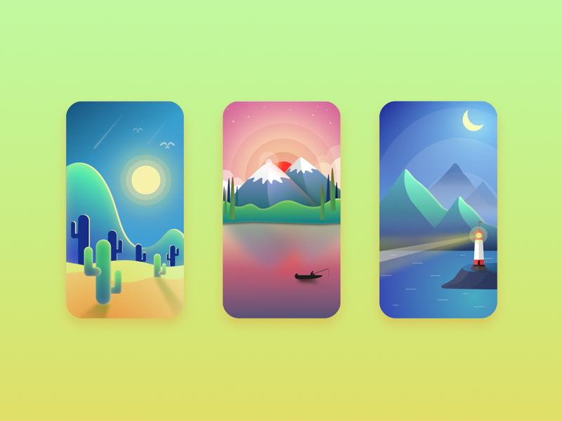 Scenery(3p) sketch illustration scenery ui
