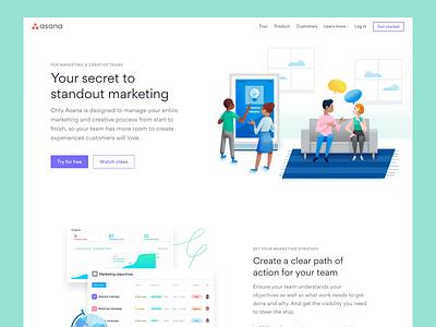 Asana for Marketers — Landing page responsive product grid web ui layout illustration landing page css asana