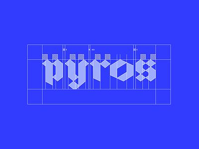 pyros wireframe branding vector lettering typography logotype minimal logodesign design