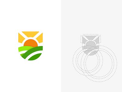 sunset logo and construction construction illustration batch emblem monogram mark branding design minimal vector logodesign