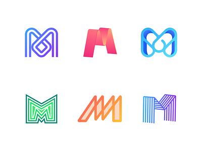 letter M logo collection logo design lettering monogram branding logodesign logotype vector minimal typography