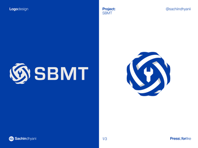 SBMT logo design globe industrialdesign tool blue branding mark icon monogram vector logo geometric minimal logotype logodesign