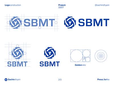 SBMT logo lockups tool blue construction mark icon monogram design logotype logo vector minimal logodesign branding