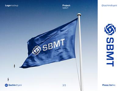 SBMT logo mockup icon logo mockup mockup sky blue flag monogram minimal vector design logo logodesign branding