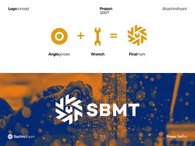 SBMT logo concept brand identity yellow tool concept construction branding logo icon design monogram vector minimal logodesign