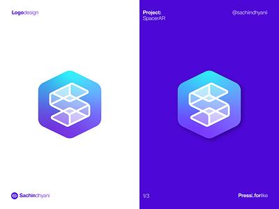 SpacerAR app Logo s logo space app logo app icon app branding minimal vector mark monogram icon design logodesign logo