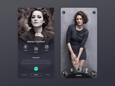 Artist Page VOD dark interface app design app artist page movie app series ux vod video on demand streaming cinema artist film movie tv design ui