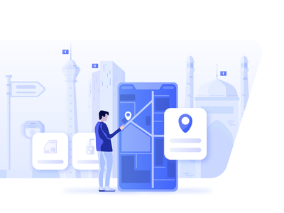 Map Local Details Illustration gis gps search local vector art blue graphic design location location based service map detail tehran city branding minimal vector illustraor illustration design