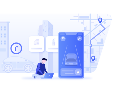 Drive Mode Illustration route car street vector art blue map drive mode driving drive location based services location local tehran city branding minimal vector illustraor illustration design