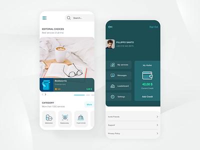 Meetap App marketplace services menu main page ui design interface app design app ux ui minimal design