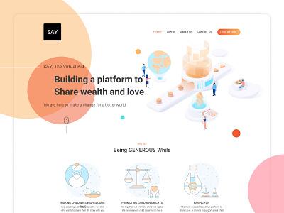 Say.Company Home Page isometric illustration isometric ui  ux ux ui design web design website web graphic  design minimal ui vector illustraor illustration designer design