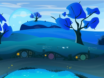 Another peaceful night in shire 2d art hill artwork night moon fun art lord of the rings hobbite shire blue 2d art landscape illustration landscape design landscape vector illustraor illustration designer design