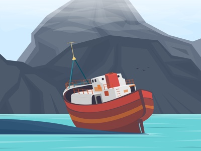 The little ship is sad and alone lake mountain rock rusty ship wreak lonely sad 2d art alone ship vector illustration vector art graphic  design minimal vector illustration design