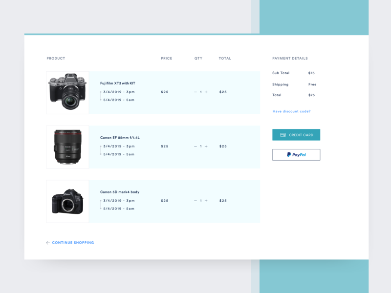 Checkout page sketch shopping cart credit card paypal rental app photography camera rental payment gateway checkout